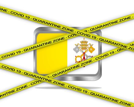 COVID-19 warning yellow ribbon written with: Quarantine zone Cover 19 on Vatican flag illustration. Coronavirus danger area, quarantined country.