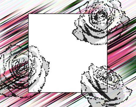 halhtone roses on magenta, black, white and green stripes background frame