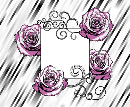 pink and black roses on retro style black and white striped background