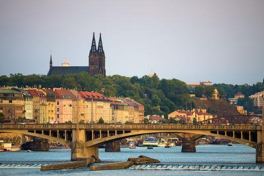 Legion Bridge over Vltava river and St. Vitus Cathedral in Prague, Czechia
