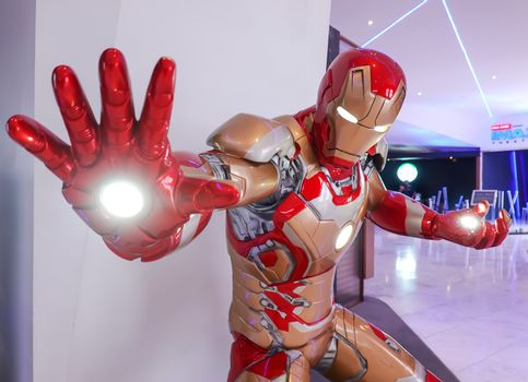 Iron Man model show in Avengers Endgame exhibition booth at emquartier, Iron Man is a fictional superhero in American comic books published by Marvel Comics.