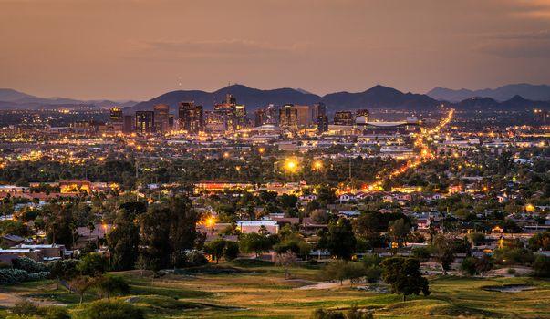 Phoenix Arizona skyline at sunset