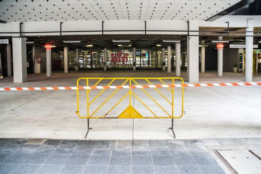 Bangkok Thailand-April 7,2020:The shopping mall in central Bangkok put a line and sign not to entrance because it's the government's policy to prevent the outbreak of Coronavirus or Covid-19