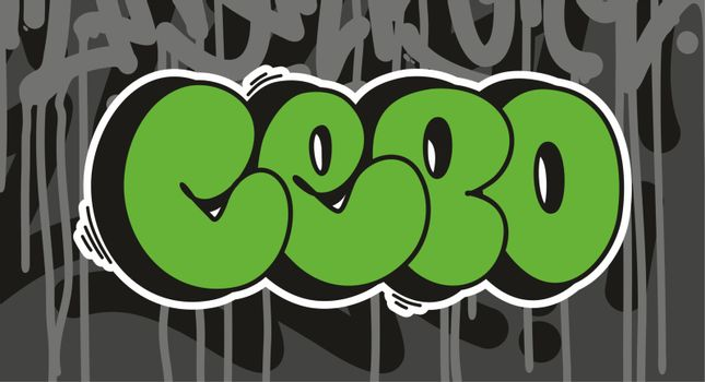 Cepo Graffiti Font Lettering With A Grey Background