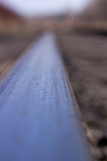 Long rails close-up. Railway. The wooden sleepers.