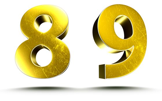 3D illustration Numbers 8 and 9 Gold isolated on a white background.(with Clipping Path)