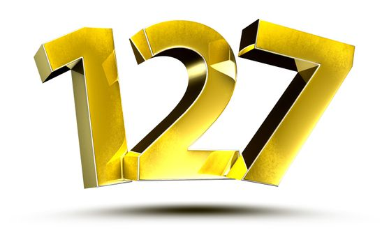 3D illustration Numbers 127 Gold isolated on a white background.(with Clipping Path)