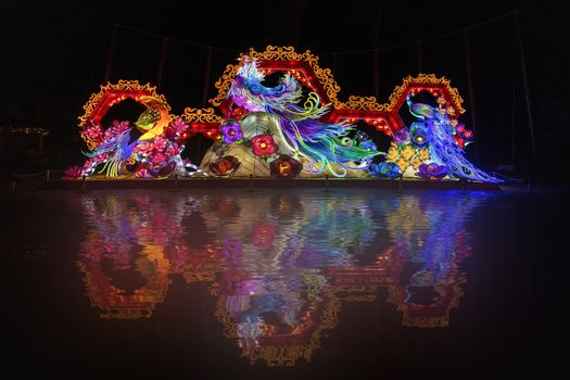 Chineses illumination reflection in the dark night