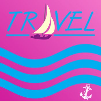 Vector Background illustration of the sea yacht. Summer travel. Trendy style banner can be used for gift card, flyer, postcard, poster, calendar.