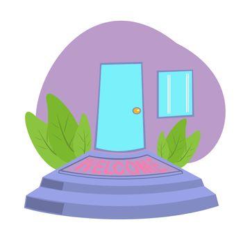 Front door with Welcome Doormat In Front of Door , entrance plaque, vector in flat style