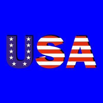 Word USA with american flag