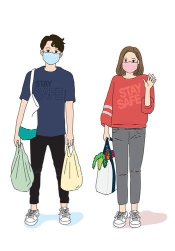 Hand drawn vector couple grocery shopping wearing face mask to prevent Coronavirus.