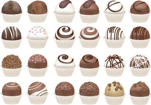 Set of chocolate cupcakes