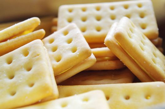 Cheese crackers close up in the morning