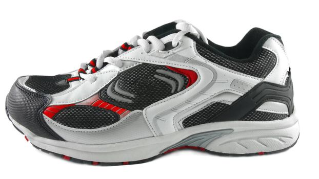 male sport shoe closeup on white