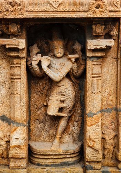 Krishna bas relief in Hindu temple. Sri Ranganathaswamy Temple. Tiruchirappalli, Tamil Nadu, India