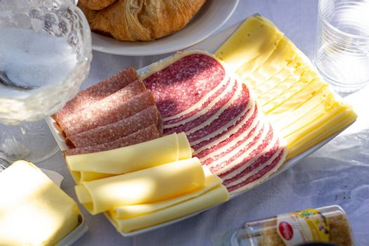 Sausage and cheese sliced on a plate. Laid table.