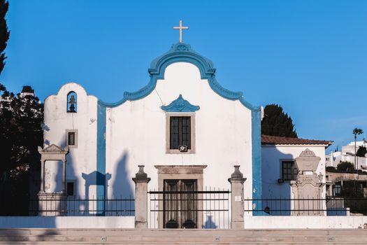 Albufeira, Portugal - May 3, 2018: Architectural detail of the Ermida Church of Our Lady of Orada (Nossa Senhora da Orada) on a spring day