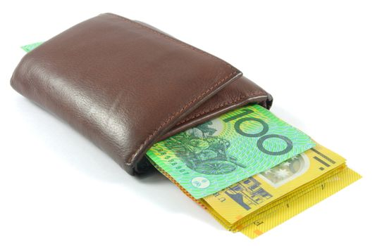 wallet with australian money over white