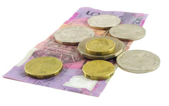 Australian cash over white surface