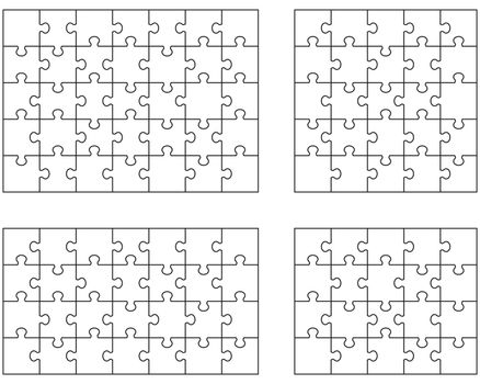 llustration of four white puzzles, separate pieces