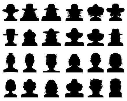Set of black silhouettes of avatars on a white background