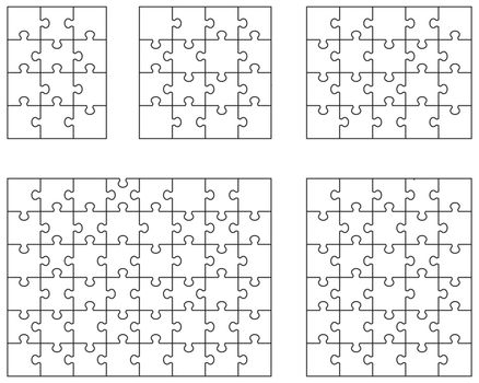 Illustration of five white puzzles, separate pieces