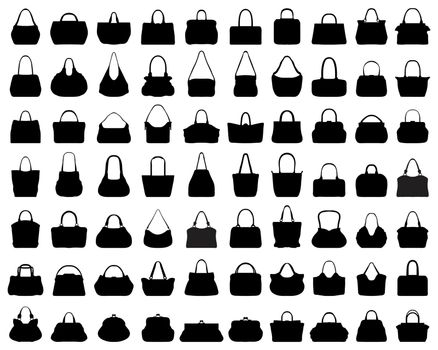 Big set of black silhouettes of handbags on a white background