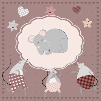Postcard for the birth of a baby with cute mice in purple tones