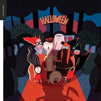 Halloween greeting card with lettering. Vector cartoon illustrated group of kids wearing Halloween costumes and a dog, standing in the court in front of opened door, scared by old lady with scythe.