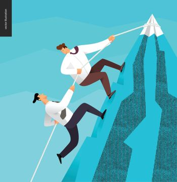 Climbing, business partnership concept - two business people rising the mountain, helping to each other.