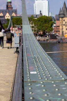 Metal bridge close-up of Frankfurt am main, Germany
