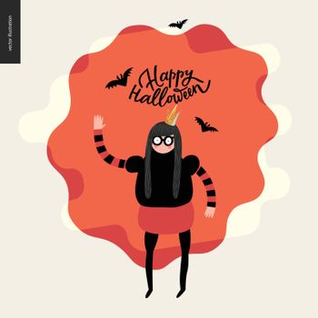 Happy Halloween, illustration with a waving girl. Vector cartoon illustration of a girl wearing a halloween costume with a crown, and flying bats, with a lettering Happy Halloween