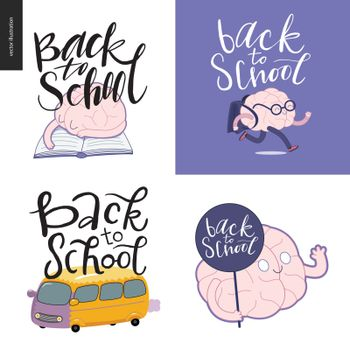 Back to school lettering. Flat vector cartoon illustration of a tired brain sleeping on a book, running brain with a school bag, yellow bus, and the waving brain holding a round label.