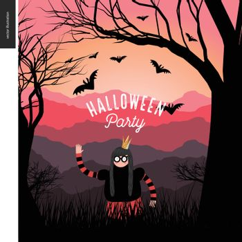 Halloween Party illustrated poster. Vector cartoon illustration of a forest landscape with a girl wearing a halloween costume with a crown, and flying bats, a black tree on foreground and sunset lighted hills on the background.