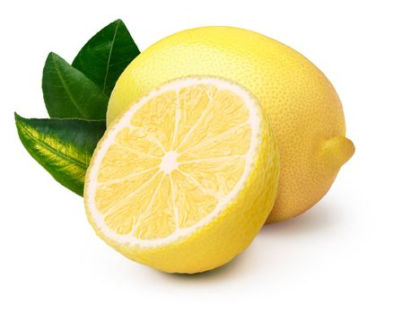 Whole and halved lemon with leaves. Clipping paths, infinite depth of field