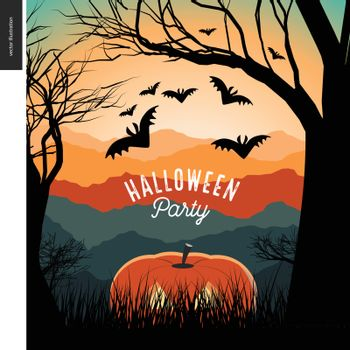 Halloween Party illustrated poster. Vector cartoon illustration of a forest landscape with a pumpkin and flying bats, a black tree on foreground and sunset lighted hills on the background.