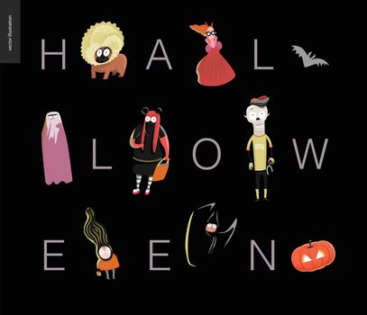 Halloween lettering card. Vector cartoon illustrated kids wearing Halloween costumes and a french bulldog, with letters composing a word Halloween. Composition placed on a black background
