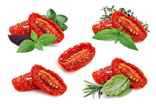 Set of sun dried tomatoes with different fine herbs. Separate clipping paths for each objects and for shadows. Infinite depth of field