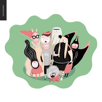 trick or treat group of children, greeting card. Vector cartoon illustrated group of kids wearing Halloween costumes and a french bulldog, scared by something. Composition placed on a waved shape