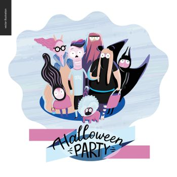 Trick or treat group of children, greeting card with lettering Halloween Party. Vector cartoon illustrated group of kids wearing Halloween costumes and a french bulldog, scared by something.
