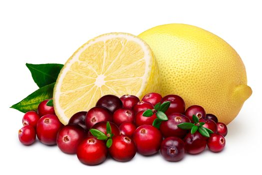 Natural sources of antioxidants. Cranberry with lemon. Clipping paths for both composite and shadow, infinite depth of field