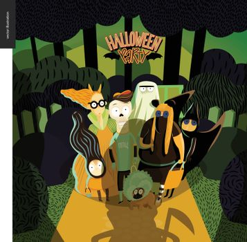 Halloween Party greeting card with lettering. Vector cartoon illustrated group of kids wearing Halloween costumes and a dog, standing in court in front of opened door, scared by old lady with scythe.