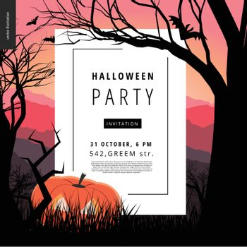 Halloween Party notice illustrated poster. Vector cartoon illustration of a forest landscape with a pumpkin and flying bats, a black tree amd jack-o-lantern on foreground and sunset lighted hills.