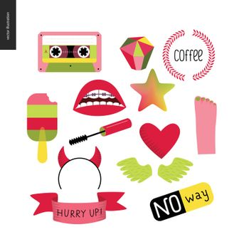 Girlish icons stickers set. Vector flat cartoon illustrated icons of few girl elements - masara brush, transparent popsicle, heart, a pare of wings, few letterings, star, cassette tape, gem, ribbon.
