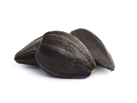 Edible sunflower seeds, roasted. Infinte depth of field, clipping paths