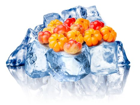 Heap of wild cloudberries freezing on rough crushed ice. Clipping paths for cloudberry, FG ice, BG ice, reflection and for whole composite