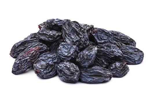 Dark blue natural seedless raisins (Isabella, Zante Currant, Uzum). Sun-dried untreated grape. Clipping paths, infinite depth of field