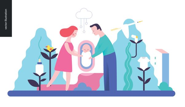 Reproduction - a family with a baby among trees and plants with infant elements, without background