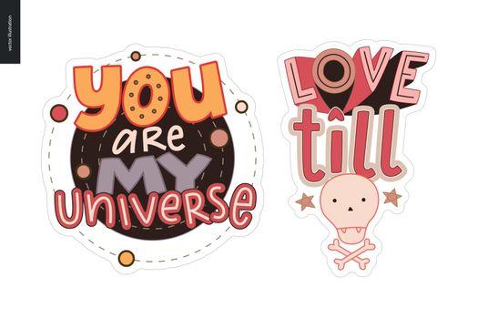 Set of contemporary girlie Love letter logo